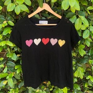 Wildfox Distressed Heart Print Cropped T-shirt